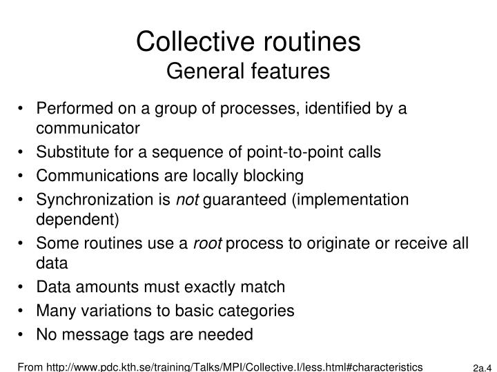 Collective routines