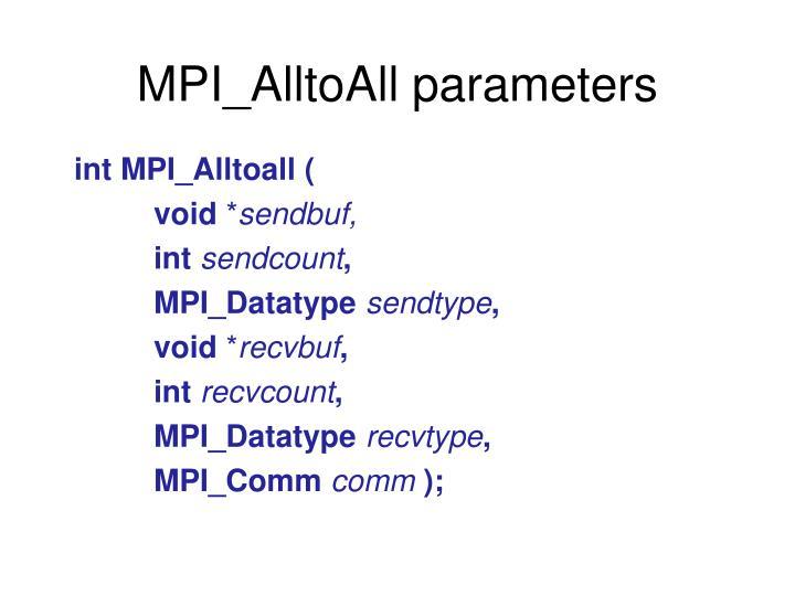 MPI_AlltoAll parameters