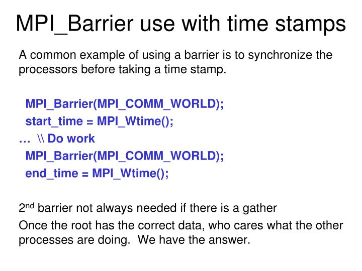 MPI_Barrier use with time stamps