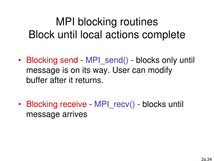 MPI blocking routines