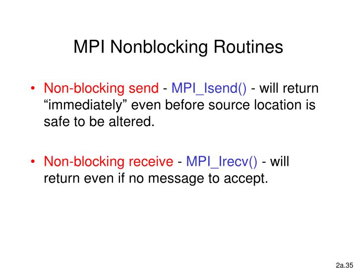 MPI Nonblocking Routines