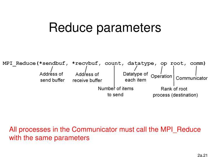 Reduce parameters