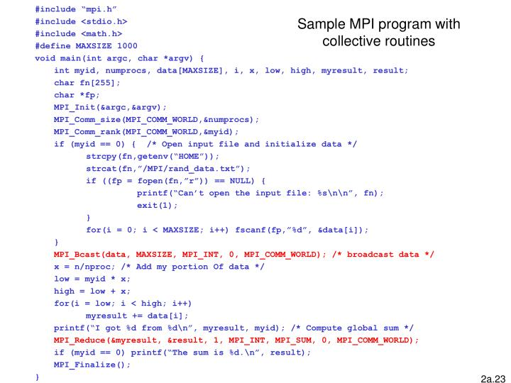 Sample MPI program with collective routines