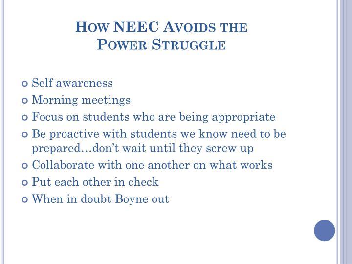 How NEEC Avoids the
