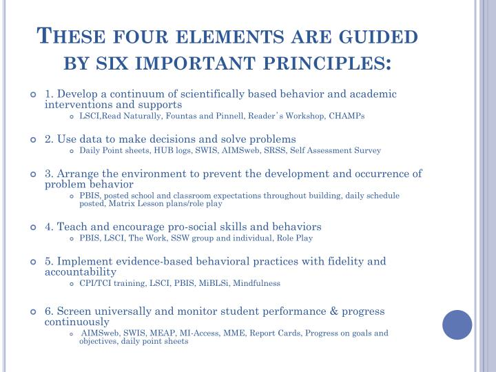 These four elements are guided by six important principles: