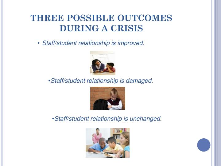 THREE POSSIBLE OUTCOMES DURING A CRISIS