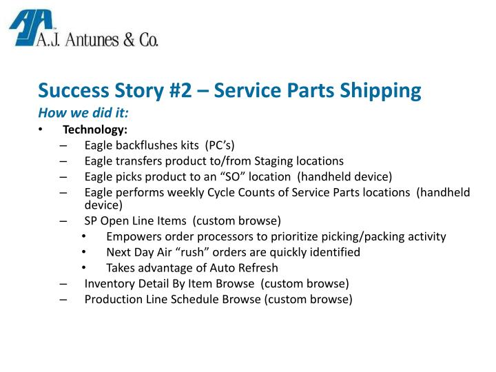 Success Story #2 – Service Parts Shipping