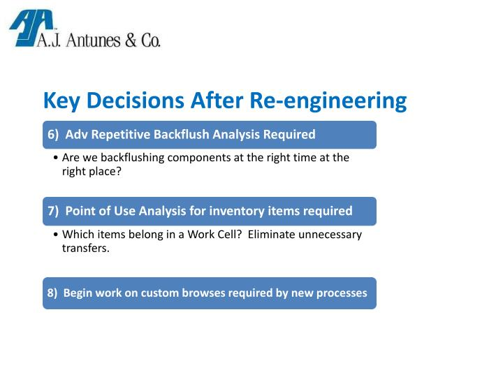 Key Decisions After Re-engineering