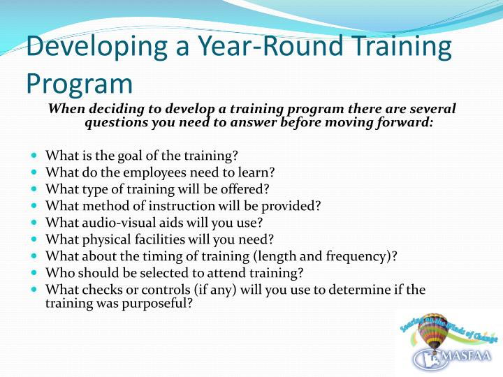 Developing a year round training program1
