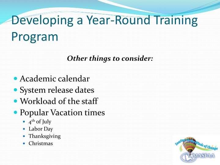 Developing a year round training program2