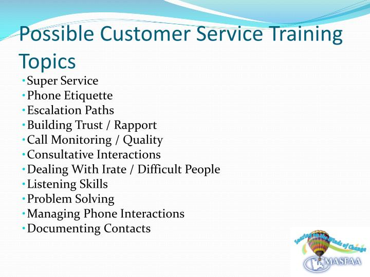 Possible Customer Service Training Topics
