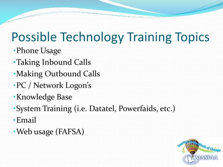 Possible Technology Training Topics