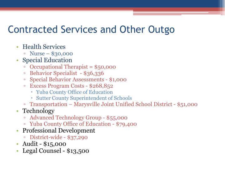 Contracted Services and Other Outgo