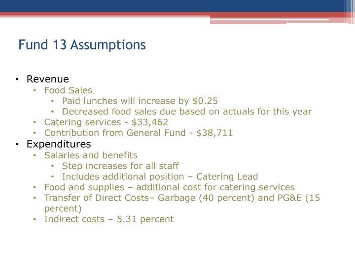 Fund 13 Assumptions