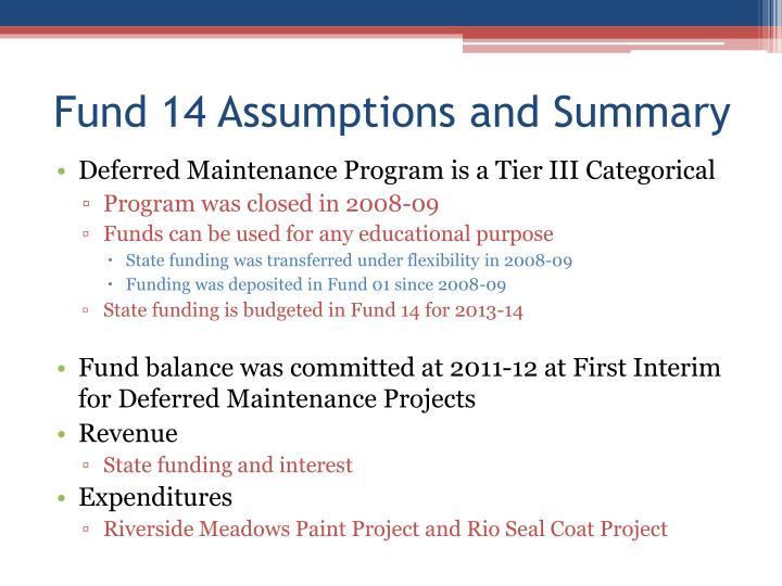 Fund 14 Assumptions and Summary