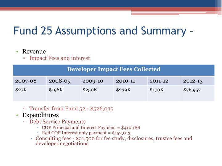 Fund 25 Assumptions and Summary –