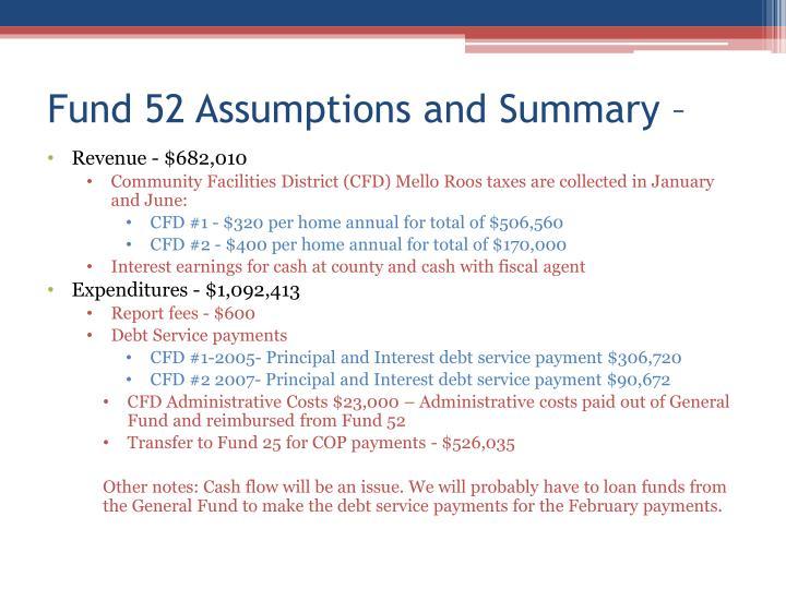Fund 52 Assumptions and Summary –