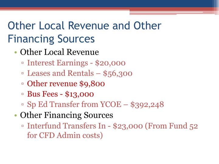 Other Local Revenue and Other Financing Sources