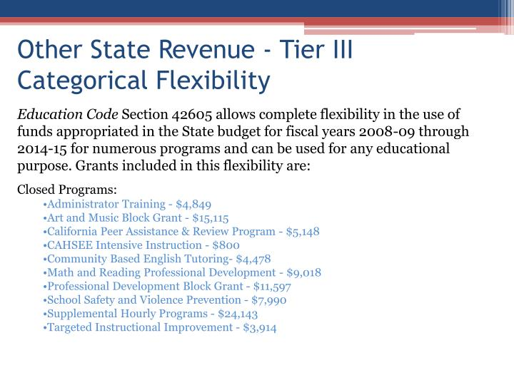 Other State Revenue - Tier