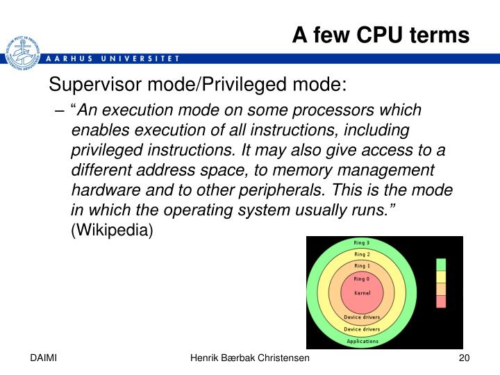A few CPU terms