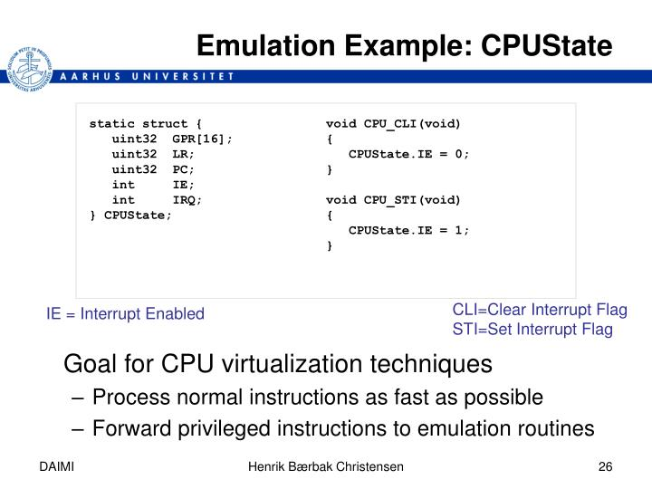 Emulation Example: CPUState
