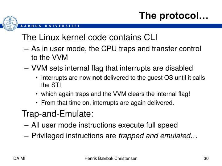 The protocol…