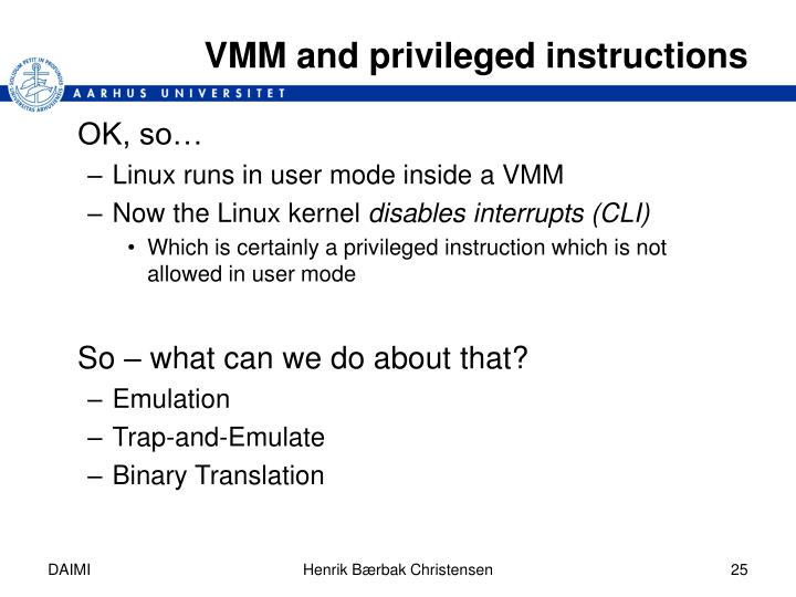 VMM and privileged instructions