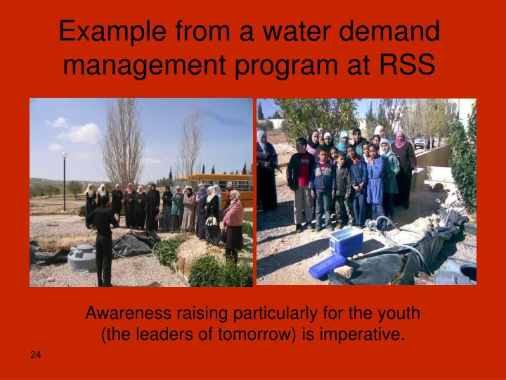 Example from a water demand management program at RSS