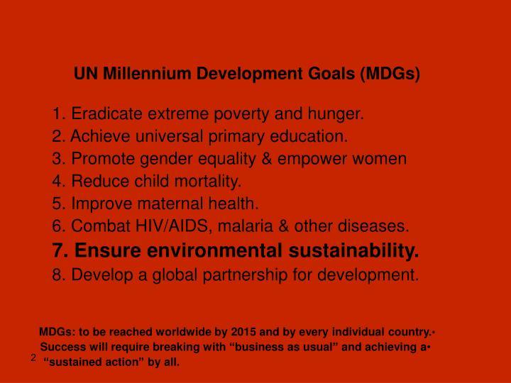 UN Millennium Development Goals (MDGs)