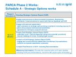 parca phase 2 works schedule a strategic options works