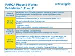 parca phase 2 works schedules d e and f