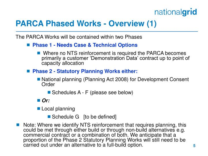 PARCA Phased Works - Overview (1)