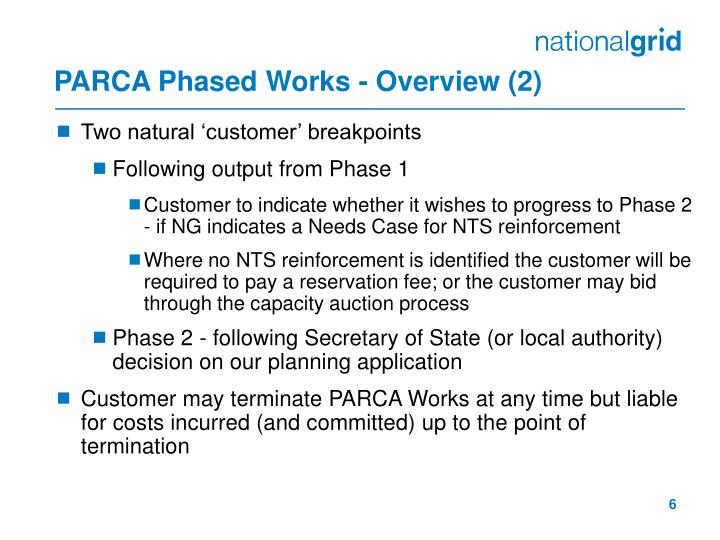 PARCA Phased Works - Overview (2)