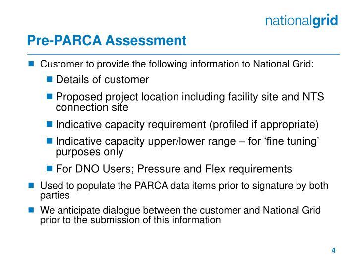 Pre-PARCA Assessment