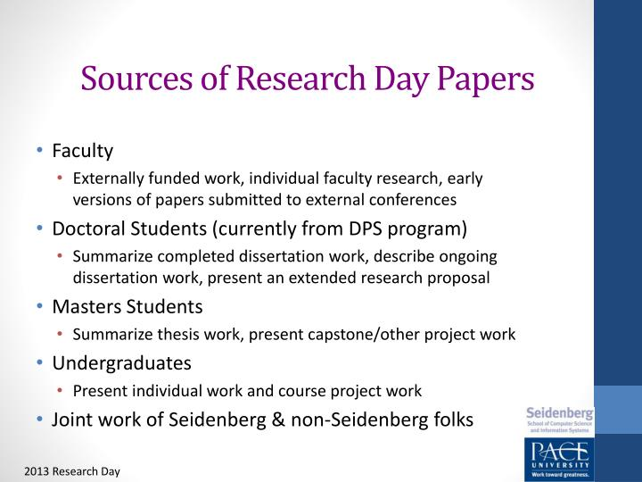 Sources of Research Day Papers