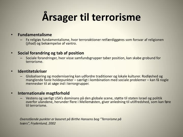 Årsager til terrorisme