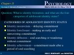 question what is identity formation and what are the four categories of adolescent identity status1