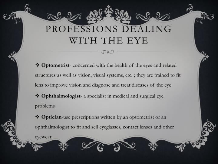 Professions dealing with the eye