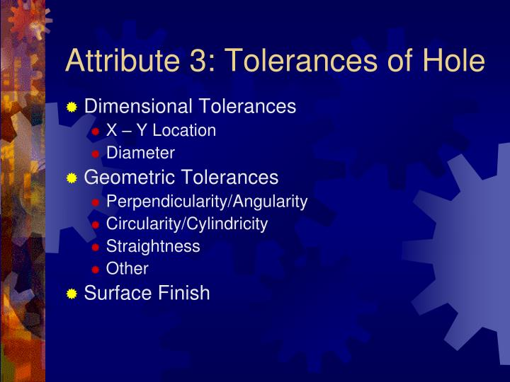 Attribute 3: Tolerances of Hole