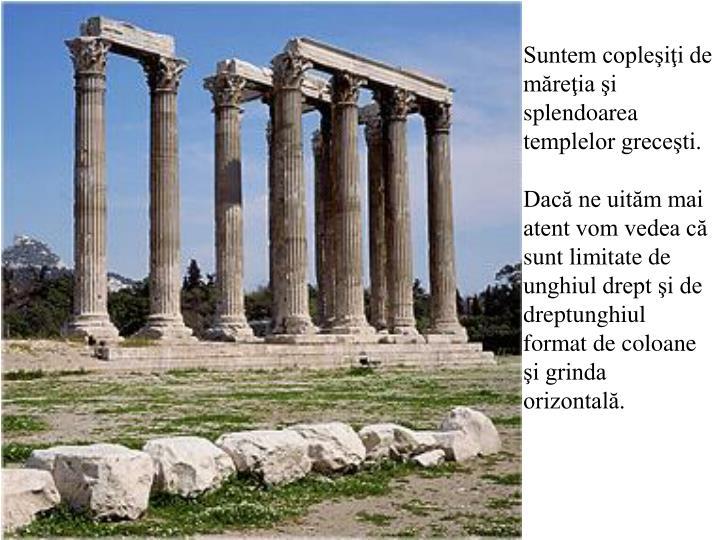 Suntem copleşiţi de măreţia şi splendoarea templelor greceşti.