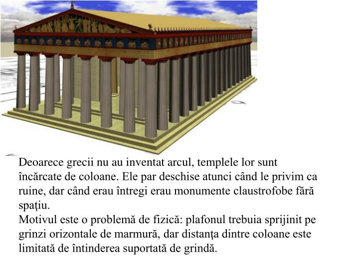 Deoarece grecii nu au inventat arcul, templele lor sunt încărcate de coloane. Ele par deschise atunci când le privim ca ruine, dar când erau întregi erau monumente claustrofobe fără spaţiu.