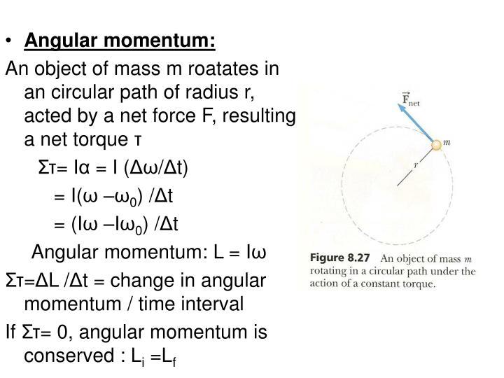 Angular momentum: