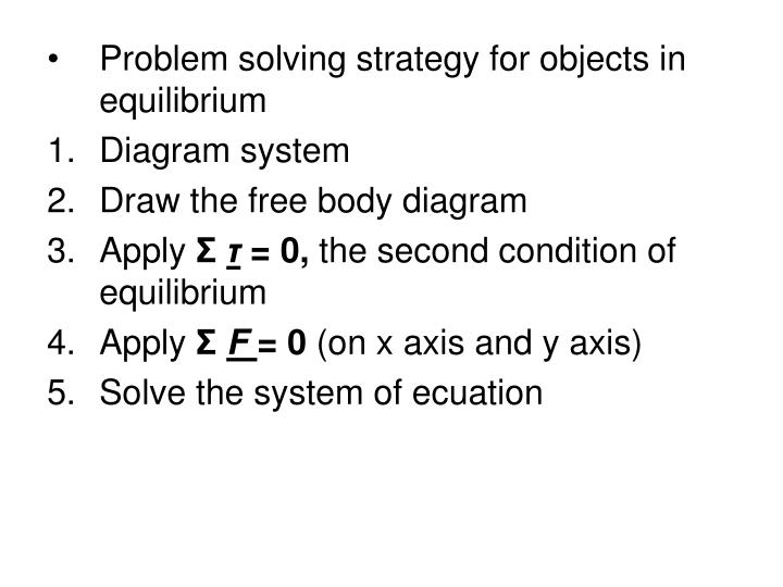 Problem solving strategy for objects in equilibrium