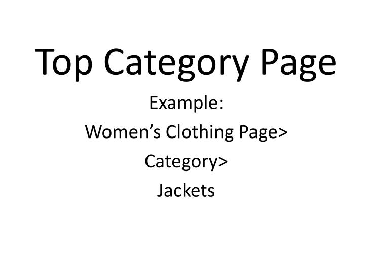 Top Category Page