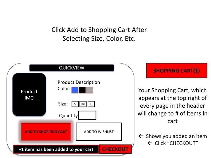 Click Add to Shopping Cart After Selecting Size, Color, Etc.
