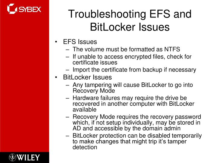 Troubleshooting EFS and BitLocker Issues