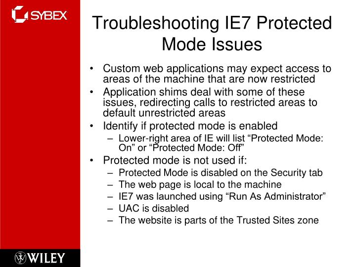 Troubleshooting ie7 protected mode issues