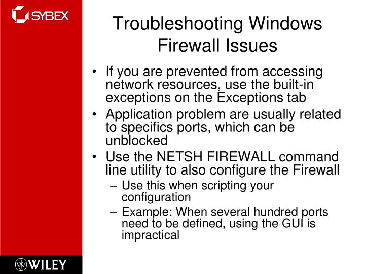 Troubleshooting Windows Firewall Issues