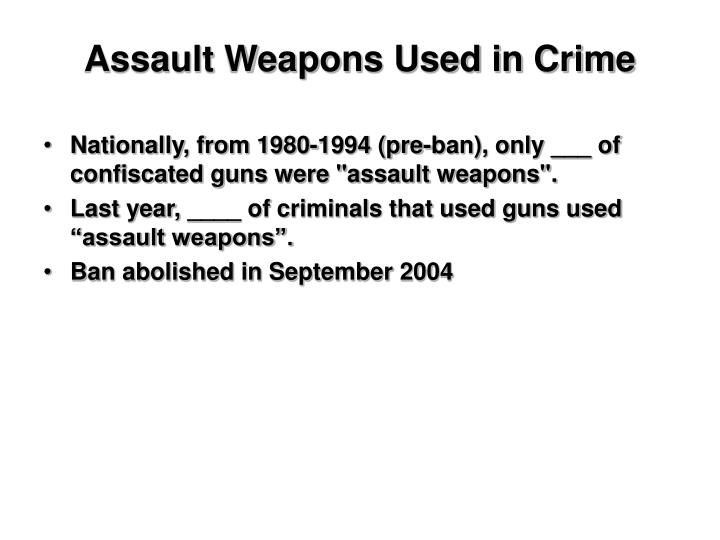 Assault Weapons Used in Crime