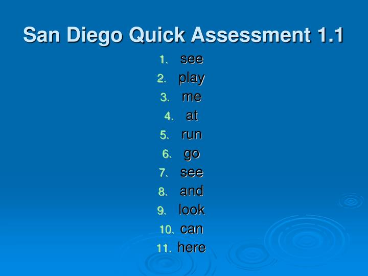 San Diego Quick Assessment 1.1